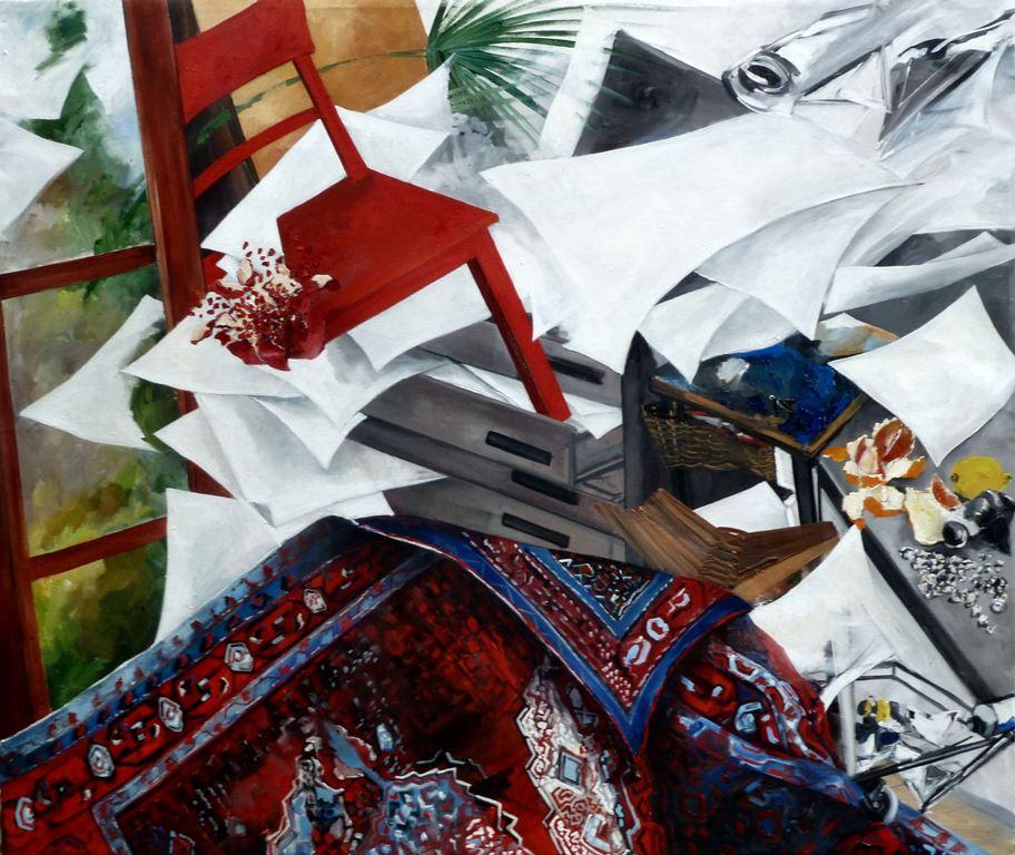 04e_tappeto volante in studio_olio su tela_cm160x135