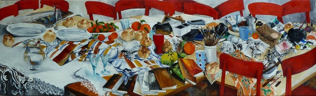 13_tredici sedie in studio_olio su tela cm 272x80_ 2011
