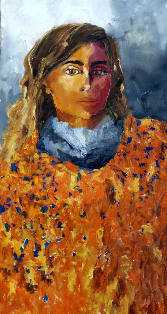 43a_ragazza con poncho_olio su tela cm 50x120