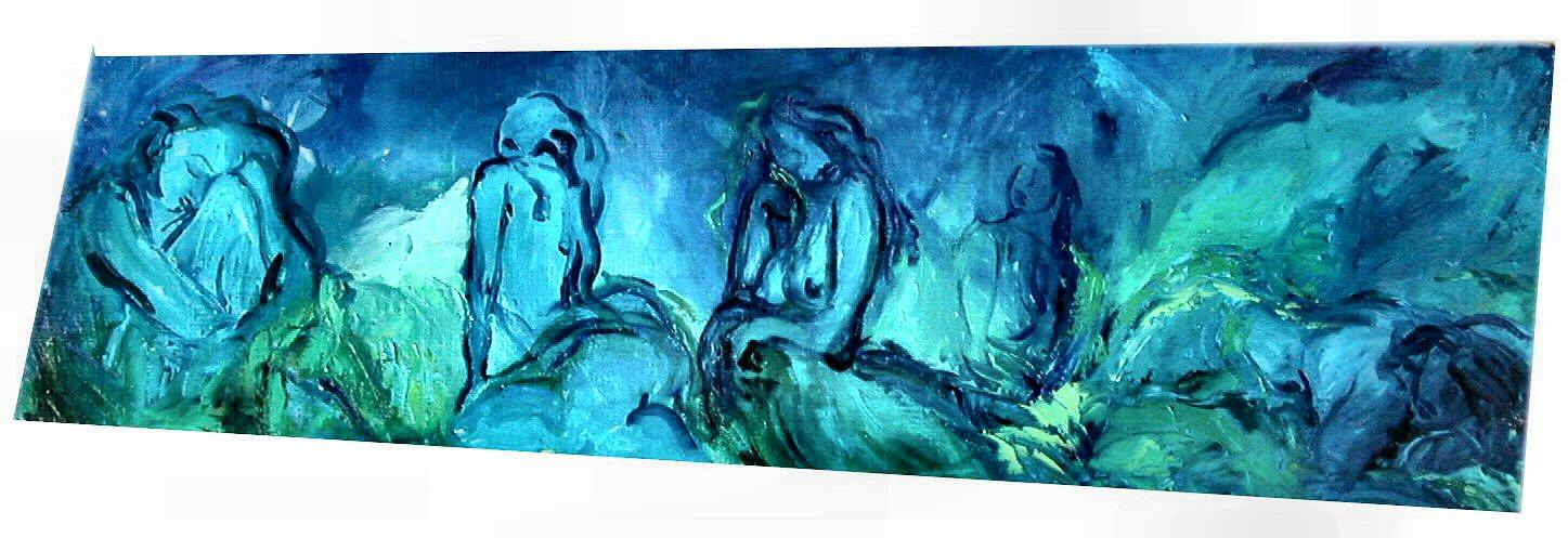 46_figure nel blu _olio su tavola cm 177x68